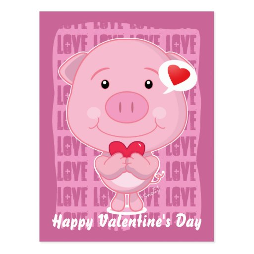 Valentine Pig Postcard