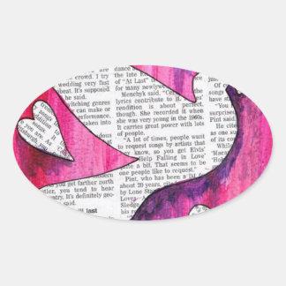 valentine  pigeon oval sticker
