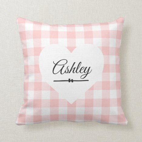 Valentine Pink Gingham White Heart Monogram Name Throw Pillow