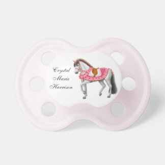 Valentine Pink Heart Parade Horse Pacifier