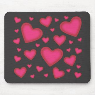 Valentine Pink Hearts on Black Mousepad