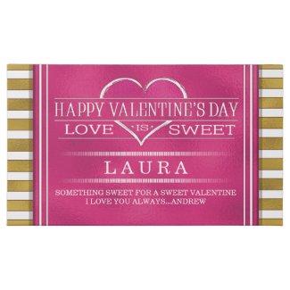 Valentine Pink Love is Sweet Custom Message 45 Piece Box Of Chocolates