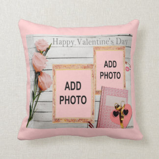 Valentine, Pink Roses, Heart Add Your Photos Throw Pillow