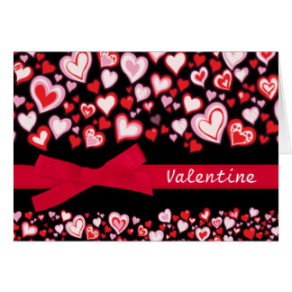 Valentine please be mine card hearts & red ribbon