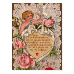 Valentine Poem With Cupid Postcard