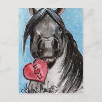 Valentine Pony Postcard Black