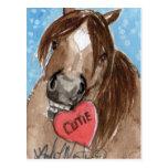 Valentine Pony Postcard Brown