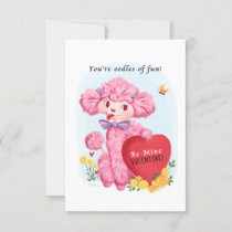 Valentine Poodle Small Traditional Vintage Style Invitation