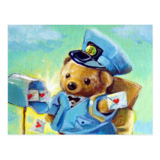 Valentine Post Bear Postcard