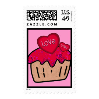 valentine Postage stamp  with cupcakes and love