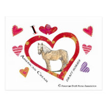 Valentine Postcard of American Cream Draft Horses