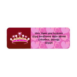 Valentine Princess Custom Return Address Labels
