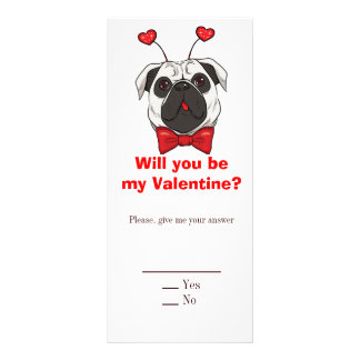 Valentine Pug Dog Rack Card