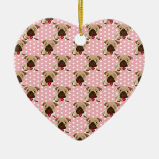 Valentine Pugs on Pastel Pink and White Background Ceramic Ornament
