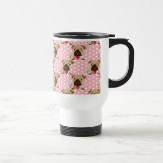 Valentine Pugs on Pastel Pink and White Background Travel Mug