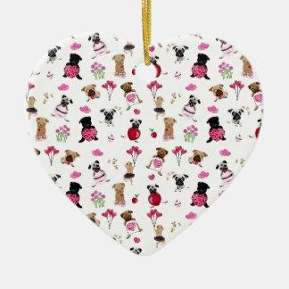 Valentine Pugs on White Background Ceramic Ornament