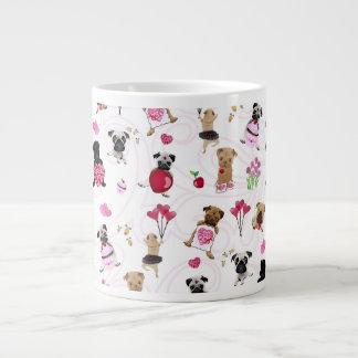Valentine Pugs on White Background Giant Coffee Mug