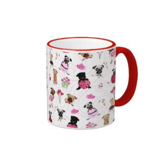 Valentine Pugs on White Background Ringer Mug