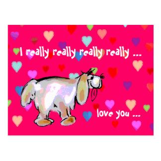 Valentine Pup & Hearts ~ Postcard