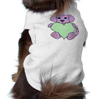 Valentine Purple Dog - Blaze & Light Green Heart Tee