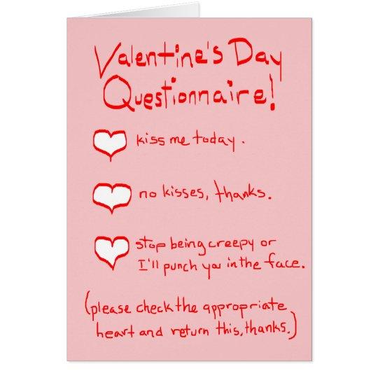 Valentine Questionnaire Card