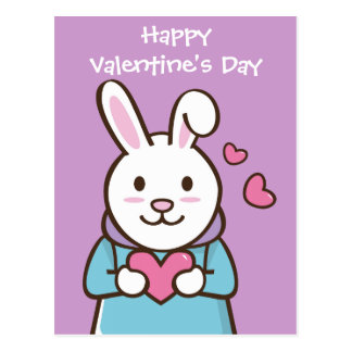 Valentine Rabbit Postcard