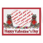 "Valentine  Raccoon ""Bandit"" Photo Frame Greeting Card"