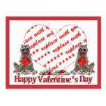 "Valentine  Raccoon ""Bandit"" Photo Frame Postcard"