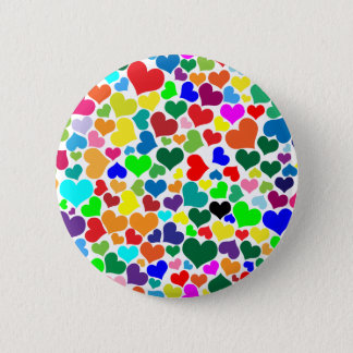 valentine rainbow hearts pinback button
