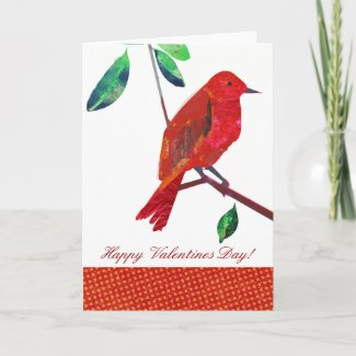 Valentine Red Bird Greeting Cards
