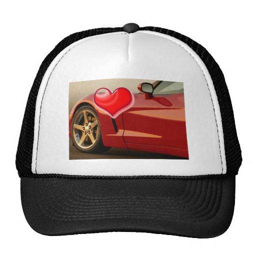 Valentine Red Corvette Trucker Hats