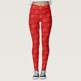 Valentine  Red Heart Pattern Leggings