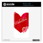 Valentine Red Heart Skin For The iPhone 4