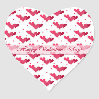 Valentine Red Hearts on White Heart Sticker