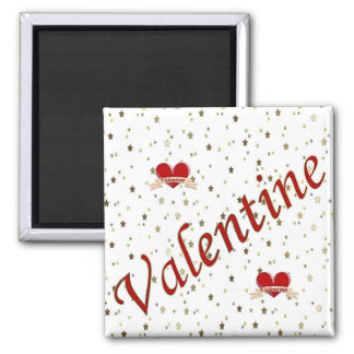 Valentine Red Hearts on White Square Magnet