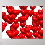 Valentine Red Hearts Random Bunch Glossy Print