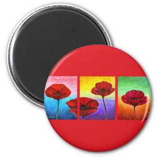 Valentine Red Poppies Painting - Multi 2 Inch Round Magnet