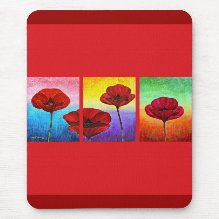 Valentine Red Poppies Painting - Multi Mouse Pad