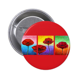 Valentine Red Poppies Painting - Multi Pinback Button
