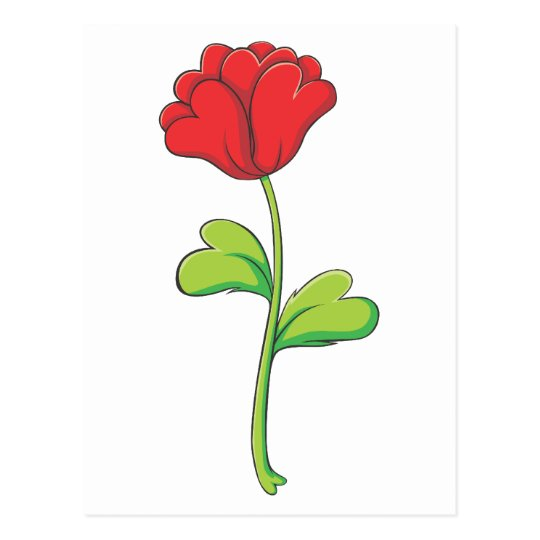 Valentine Red Rose with Hearts Postcard
