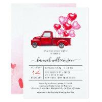 Valentine Red Truck | Drive-By Baby Shower Invitation
