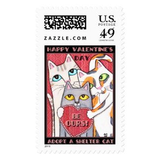 Valentine Rescued Cat / Cat Lover Postage Stamp