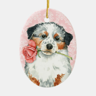 Valentine Rose Aussie Ceramic Ornament