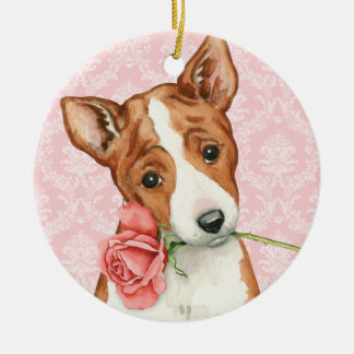 Valentine Rose Basenji Ceramic Ornament