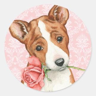 Valentine Rose Basenji Classic Round Sticker