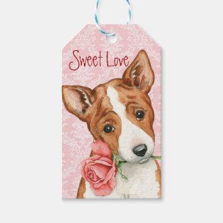 Valentine Rose Basenji Gift Tags