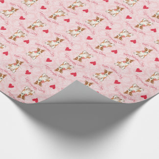 Valentine Rose Basenji Wrapping Paper