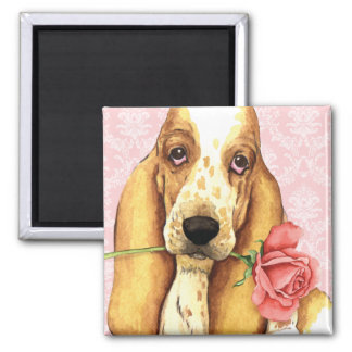 Valentine Rose Basset Magnet