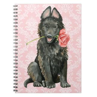 Valentine Rose Belgian Sheepdog Notebook