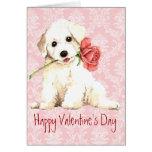 Valentine Rose Bichon Greeting Card